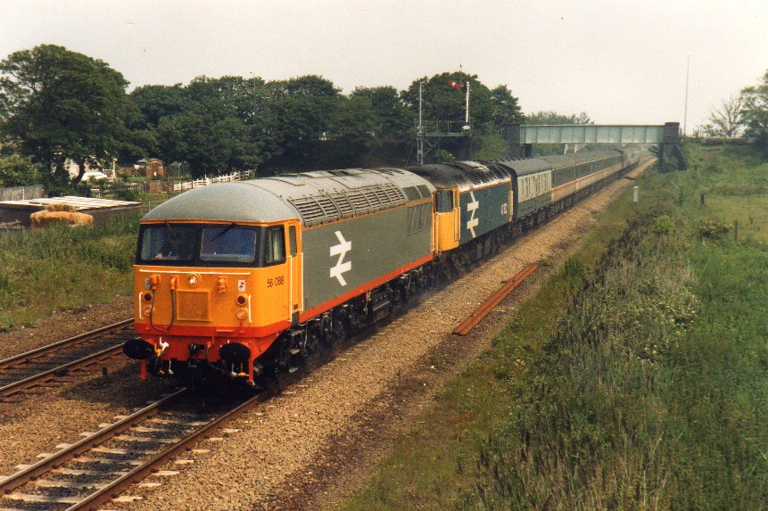 Looking relatively 'fresh out of the box', 56088 is seen topping 47632 at Prestatyn on 26th June 1987. Photo copyright: John Powell.