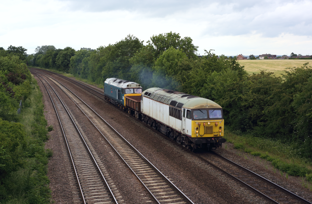 56103 powers away from Syston South Junction as it passes Thurmaston on 19th June 2018, working the 6Z65 Doncaster Up Decoy - Leicester LIP.