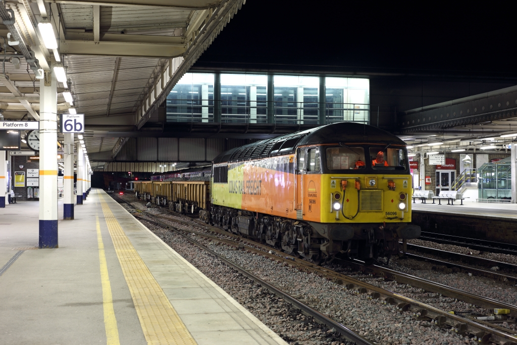 56096 stands in the centre roads at Sheffield on 6th September 2018, having ran-round its train of JNA 'Falcons', working the 6C52 2145 Doncaster Belmont Down Yard - Shireoaks East Junction. Photo copyright: Ben Wheeler.